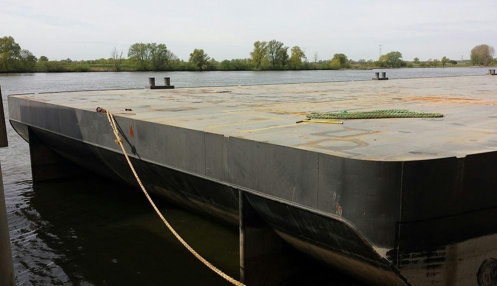 deck barge raked end moored
