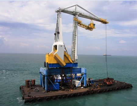 Transshipment crane barge for sale / Built 1991 / 37 x 20 m