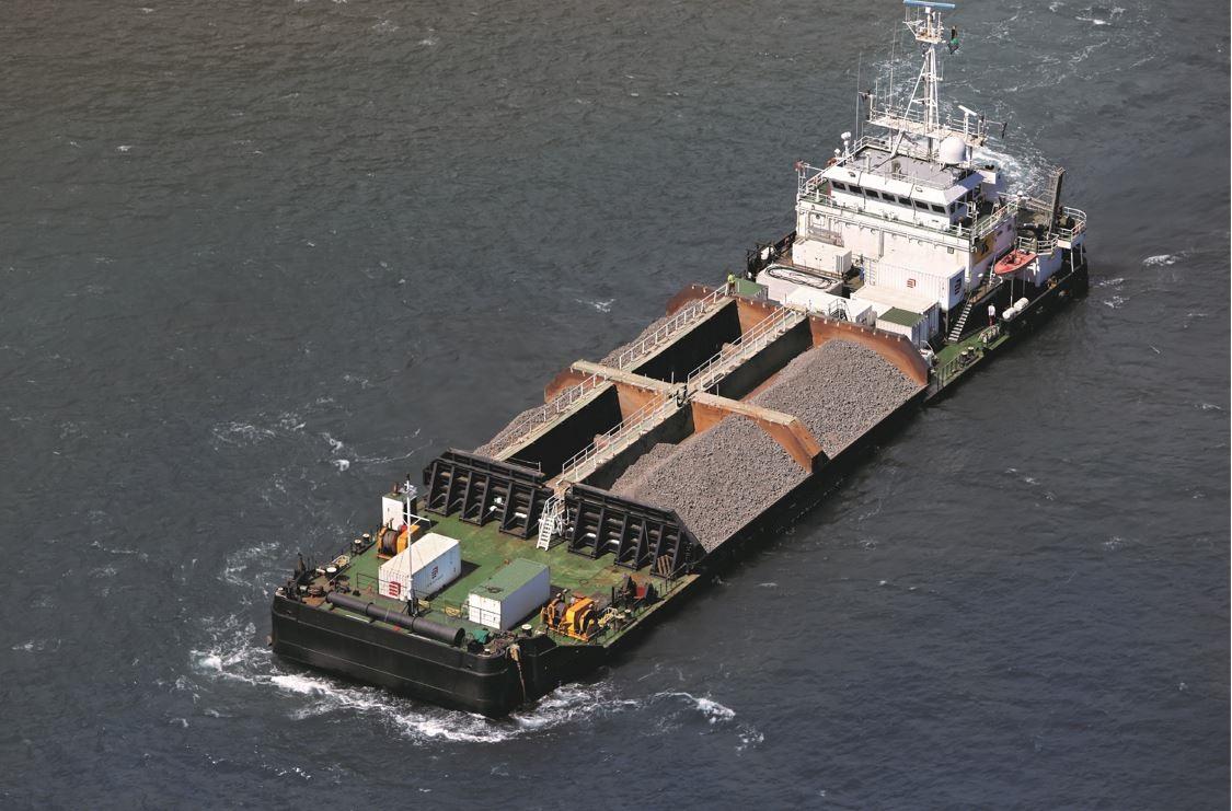 side dumping barge