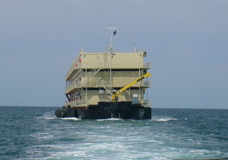 accommodation barge being towed