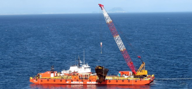 Cranebarge with 3-point mooring for sale/ Lifting capacity 200t / 70 x 19m